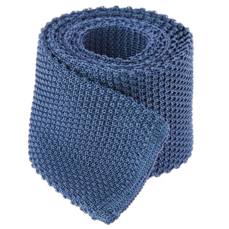 Cravate tricot bleu acier - Monza