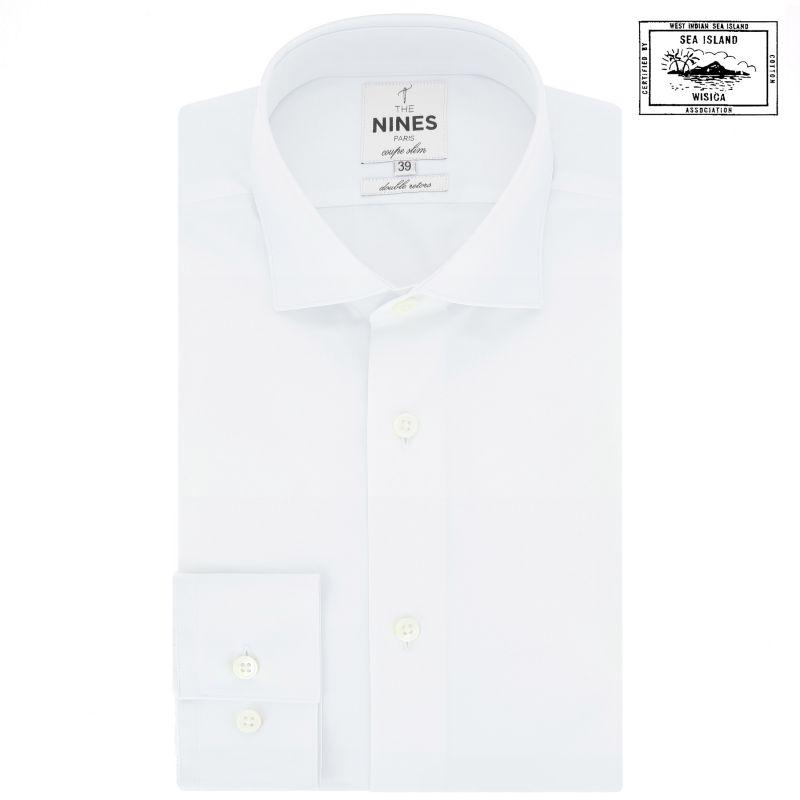Chemise blanche en coton sea island col italien arrondi coupe slim