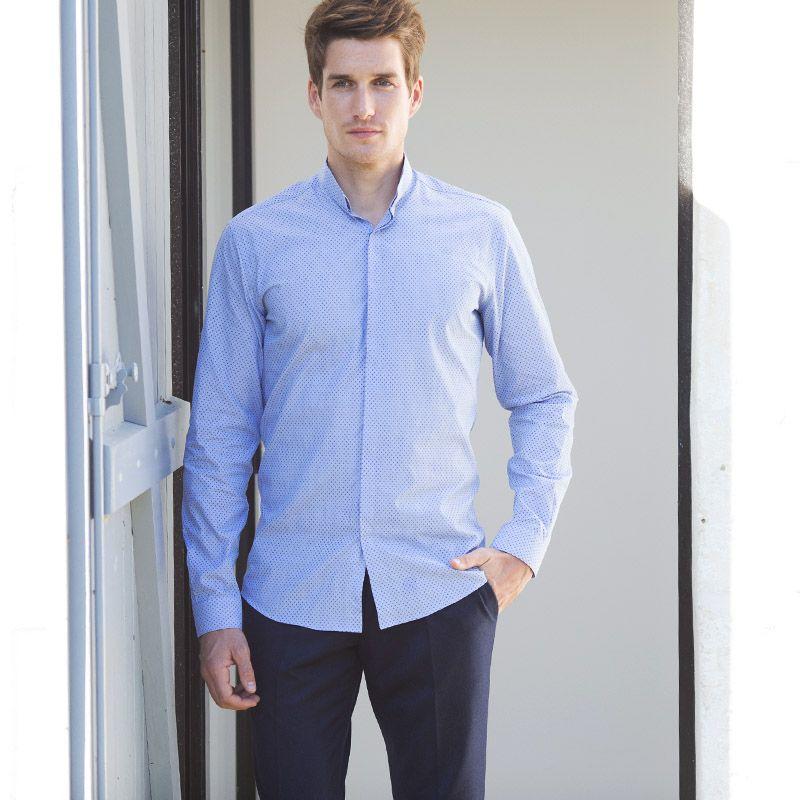 chemise bleu ciel pois col invers coupe extra slim the nines. Black Bedroom Furniture Sets. Home Design Ideas