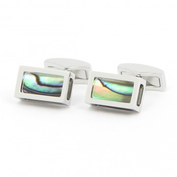 Boutons de manchette rectangle abalone argent - Djurgarden