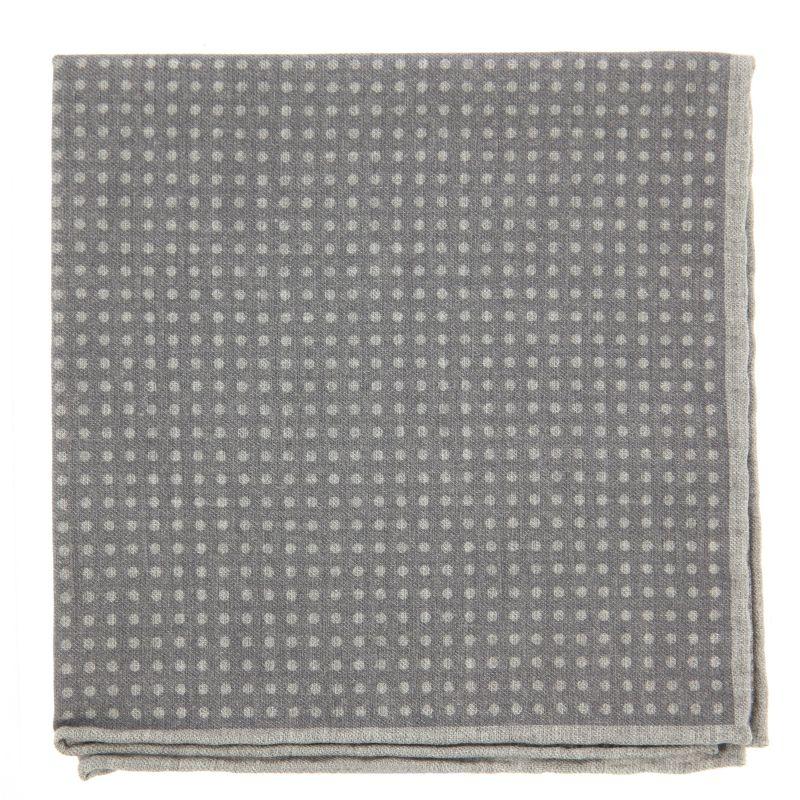 Pochette grise réversible à pois et vichy gris perle en laine et coton The Nines