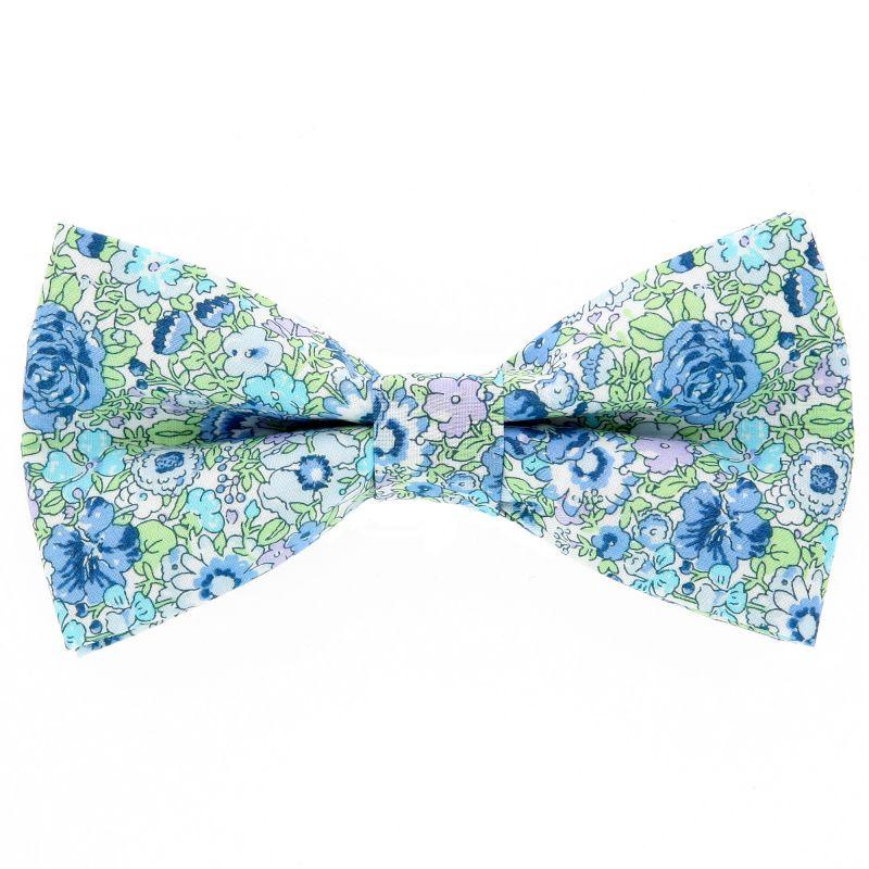 Nœud Papillon turquoise et vert à fleurs Liberty The Nines