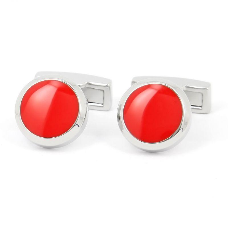 Boutons de manchette ronds rouge - Montreux II
