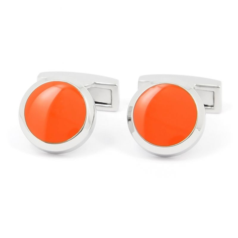 Boutons de manchette ronds orange vitamine - Montreux II