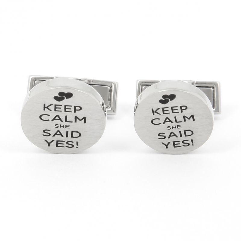 Boutons de manchette Keep Calm She Said Yes