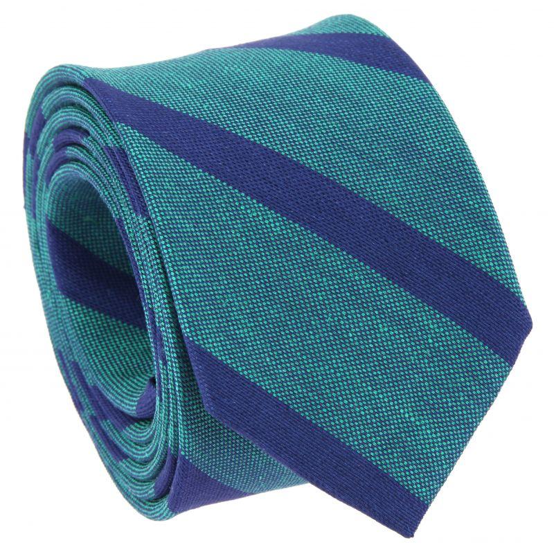 Cravate vert émeraude à rayures bleu marine en soie et lin nattés