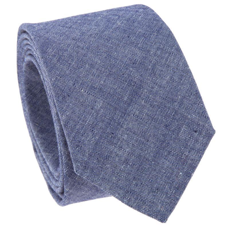 Cravate bleu denim en coton lavé