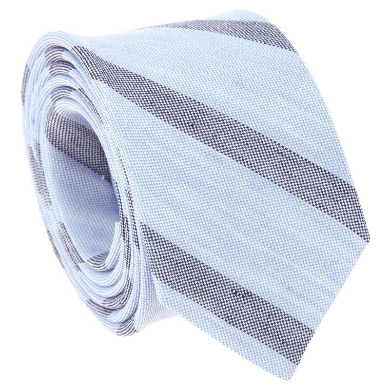 Cravate bleu ciel à rayures bleu marine en soie et lin nattés
