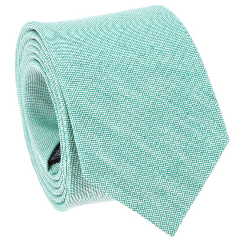 Cravate verte en soie et lin nattés