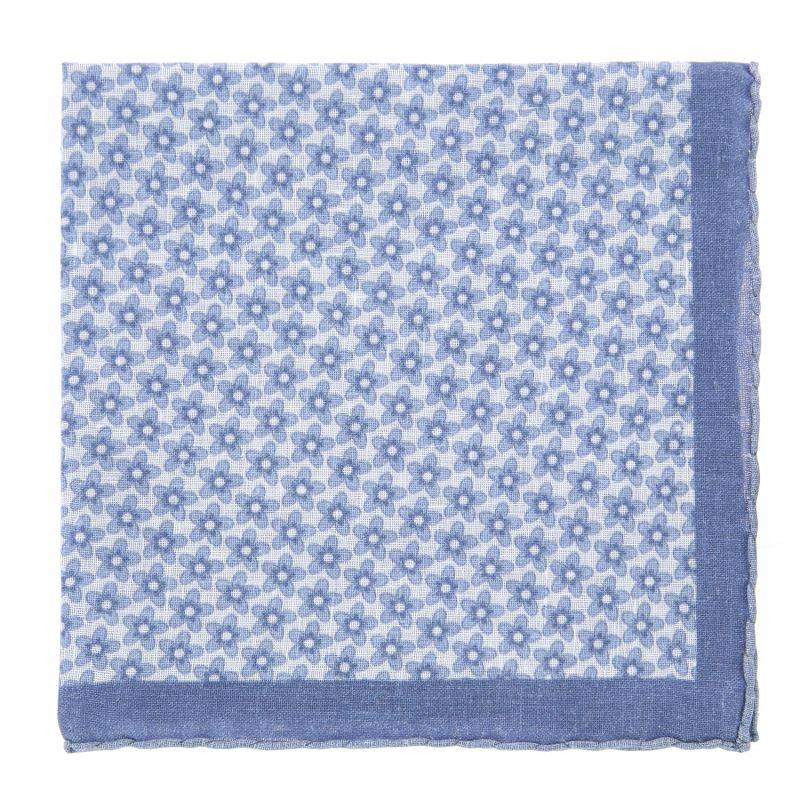 Pochette blanche à fleurs bleu ciel en lin