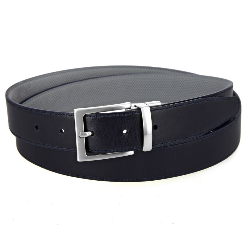 ceinture r versible cuir bleu marine et nubuck perfor gris the nines. Black Bedroom Furniture Sets. Home Design Ideas