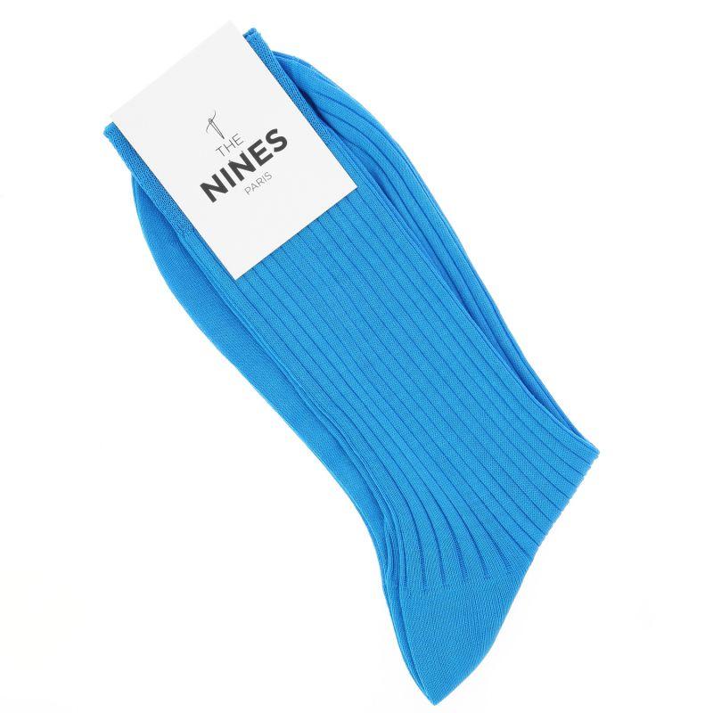 Chaussettes fil d'Écosse bleu turquoise