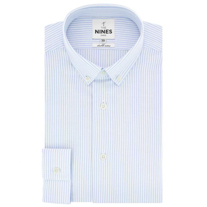 Chemise oxford blanche à rayures bleu ciel col boutonné coupe regular