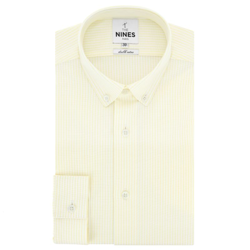 Chemise oxford blanche à rayures jaunes col boutonné coupe regular