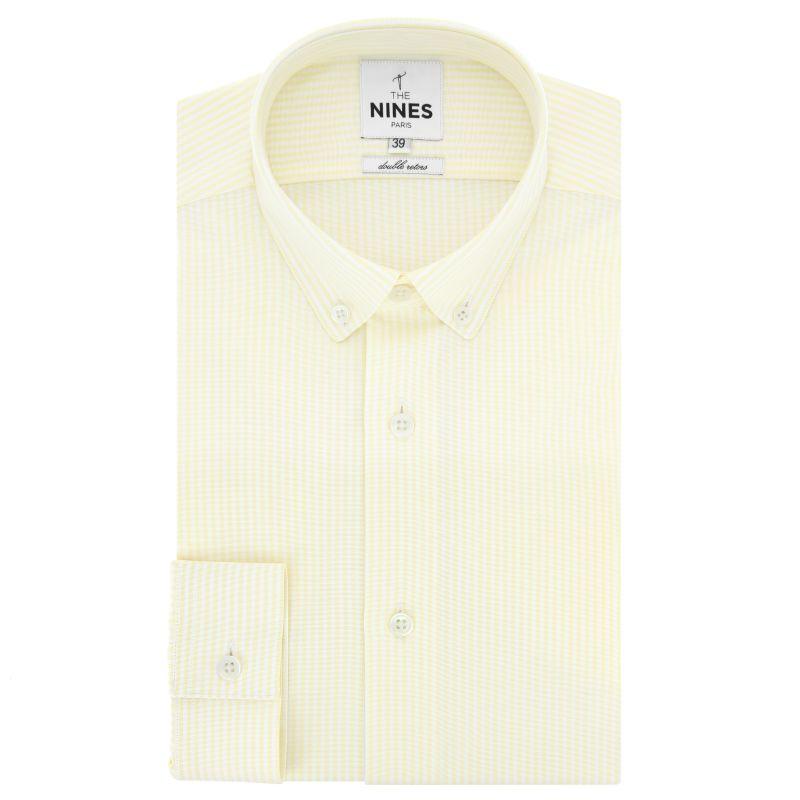 Chemise oxford blanche à rayures jaunes col boutonné coupe slim