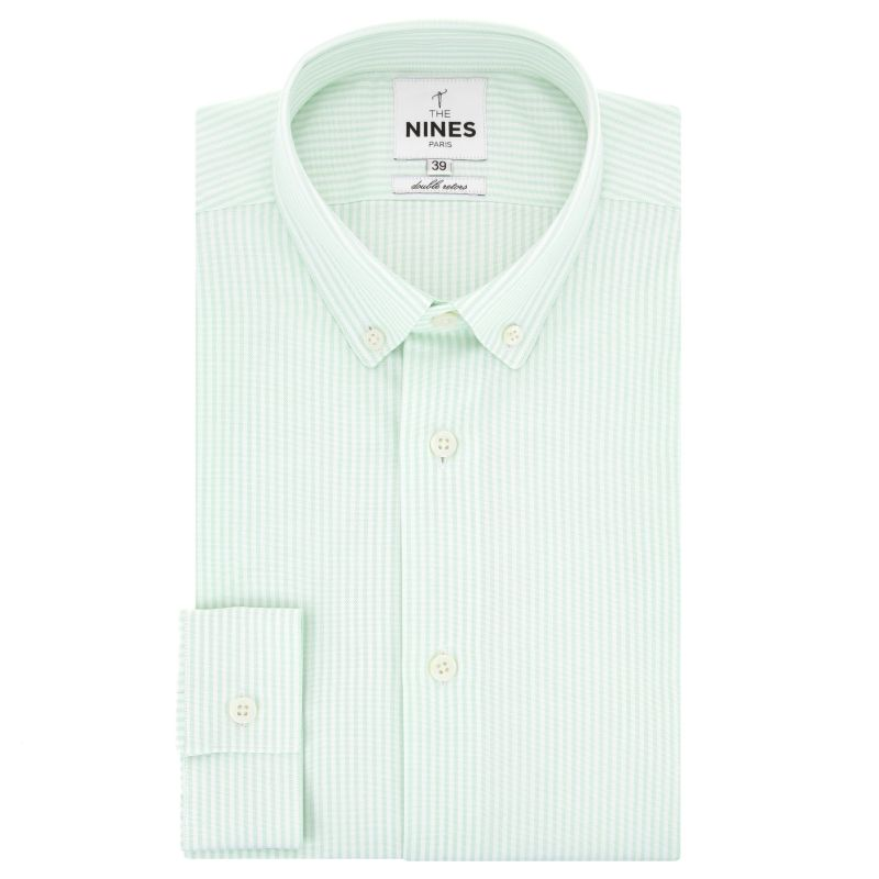 Chemise oxford blanche à rayures vertes col boutonné coupe regular