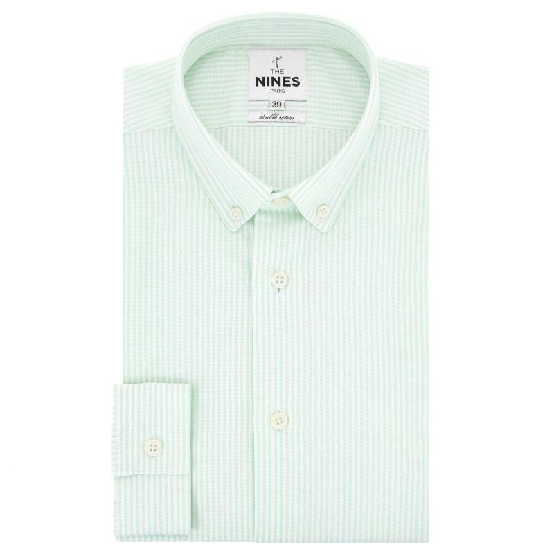 Chemise oxford blanche à rayures vertes col boutonné coupe slim