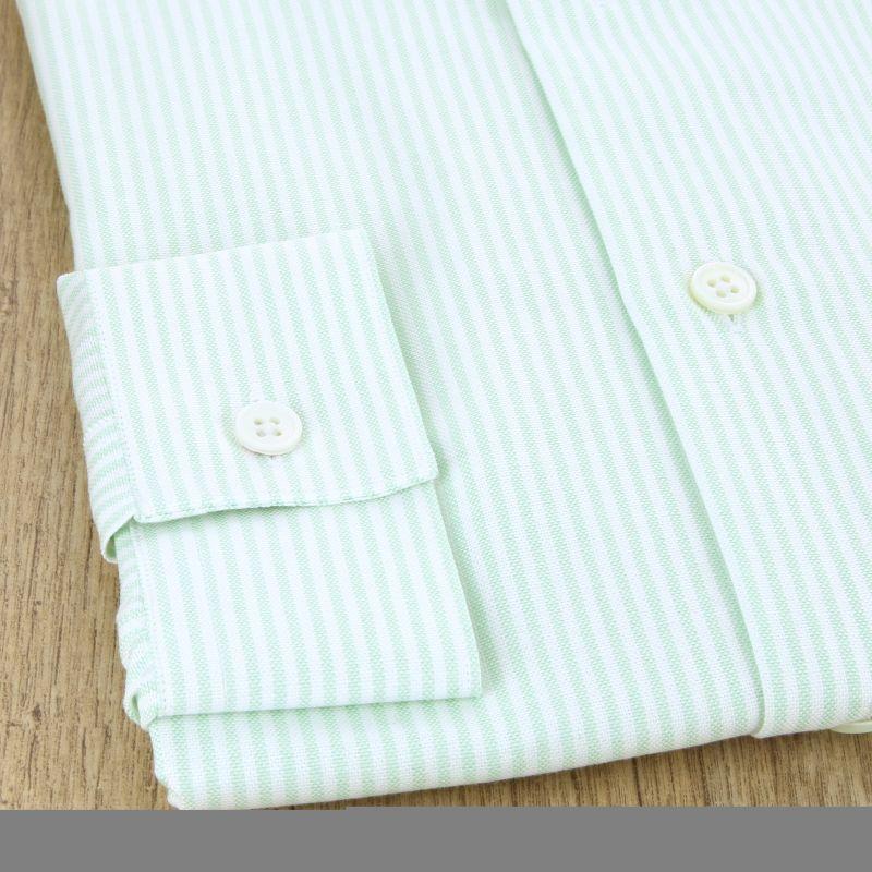 8e3c2bea714d9 Chemise oxford blanche à rayures vertes col boutonné coupe slim