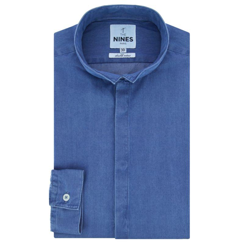 Chemise bleu ciel en denim bio col inversé coupe slim