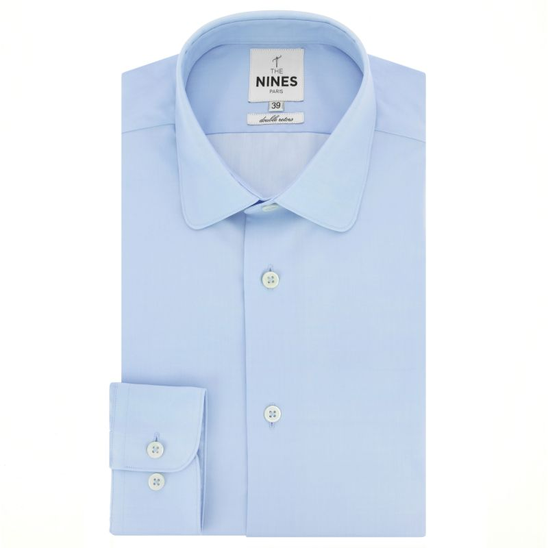 Chemise bleu ciel col italien arrondi coupe slim