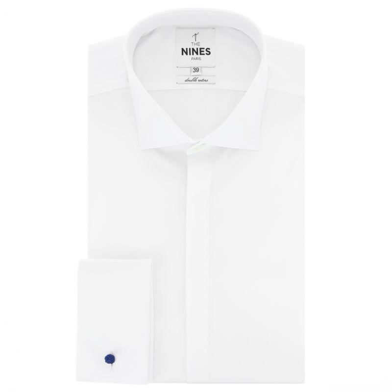 Chemise blanche à gorge cachée col italien coupe slim