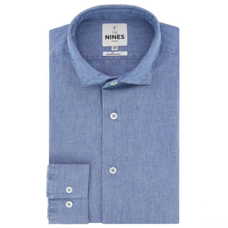 Chemise bleue en chambray col italien coupe slim