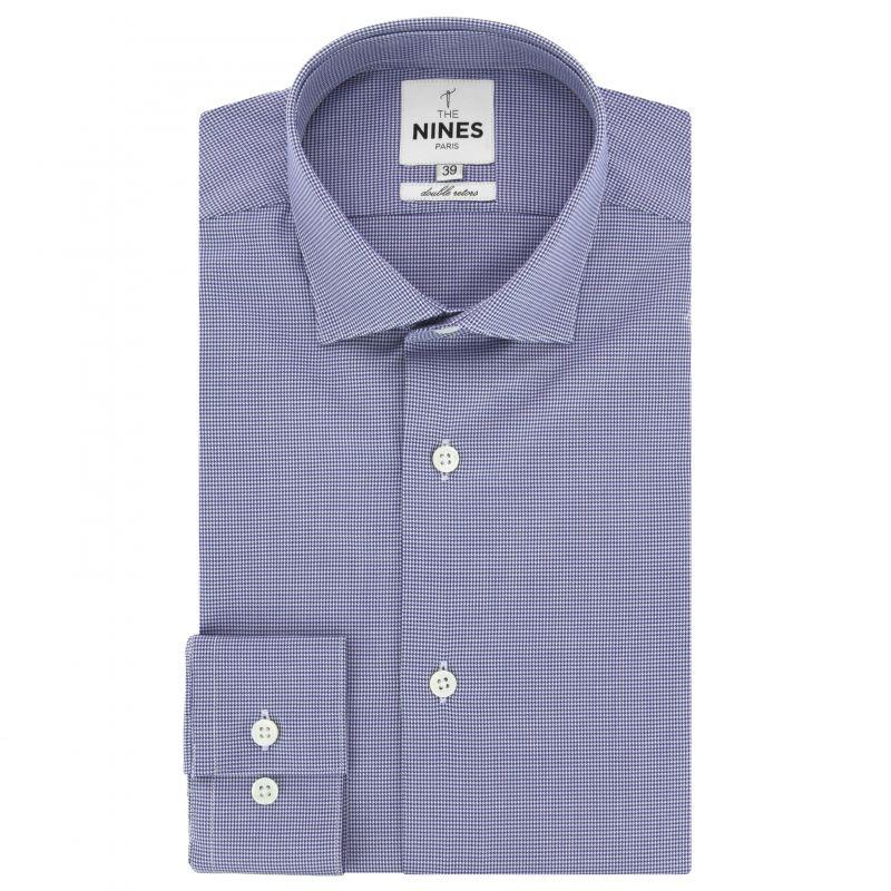 Chemise bleu marine à motif pied de poule col italien coupe slim