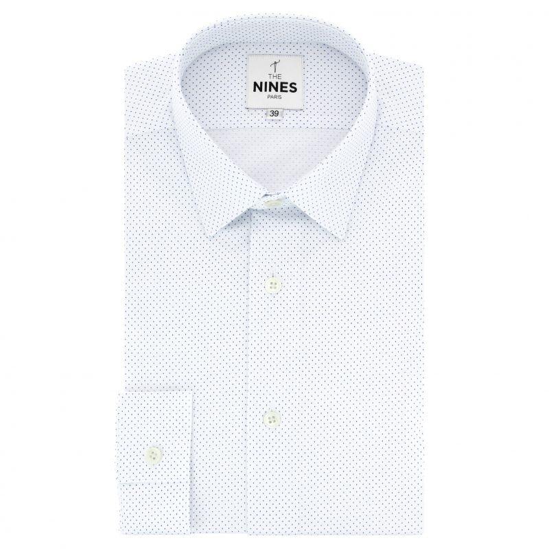Chemise blanche à pois bleus col japonais coupe slim