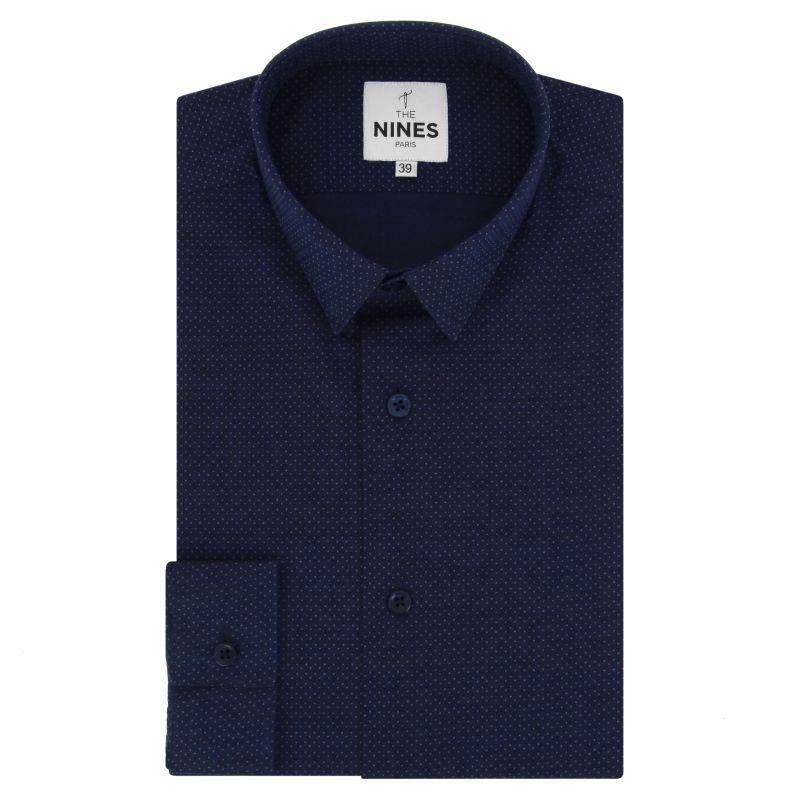 Chemise bleu marine à pois blancs petit col coupe slim