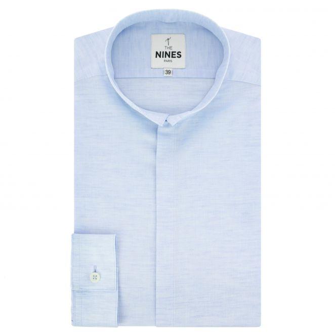 chemise bleu ciel en lin et coton chin s col invers coupe. Black Bedroom Furniture Sets. Home Design Ideas