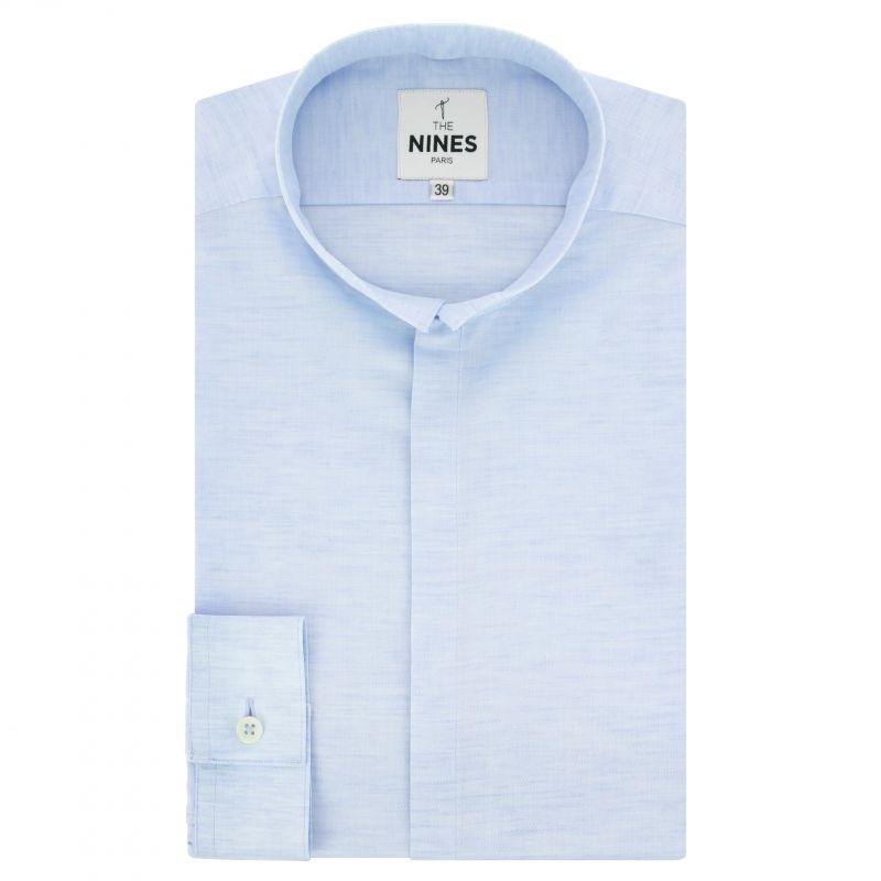 Chemise bleu ciel en lin et coton chinés col inversé coupe regular
