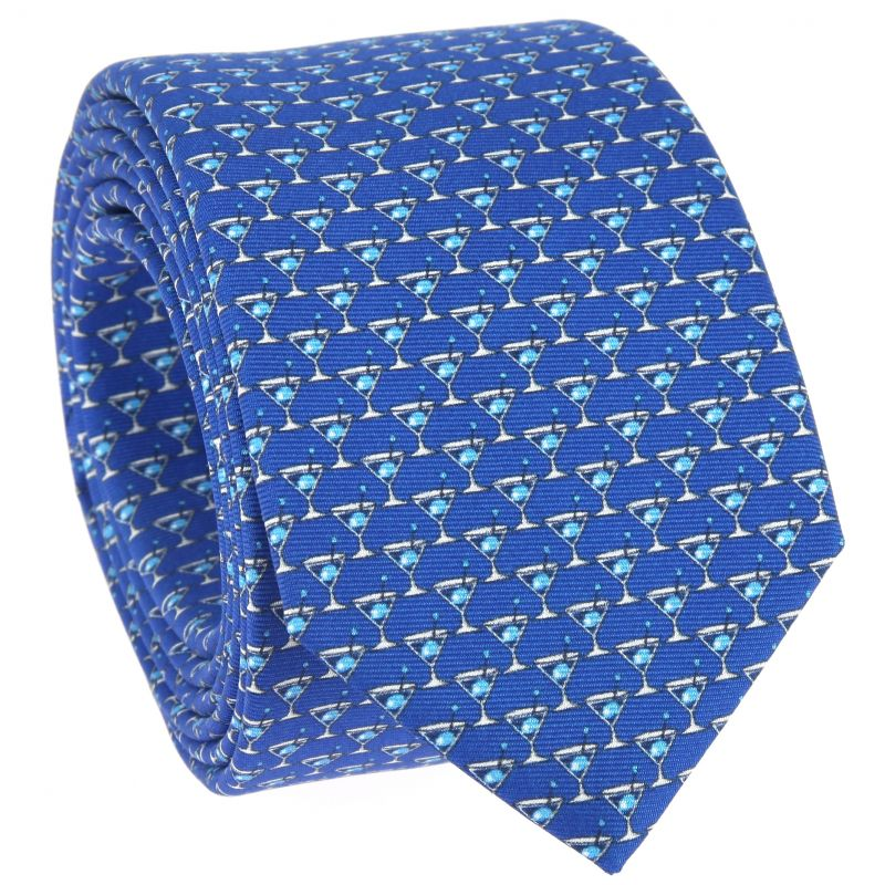 Cravate bleue à motifs cocktails bleu ciel en soie imprimée