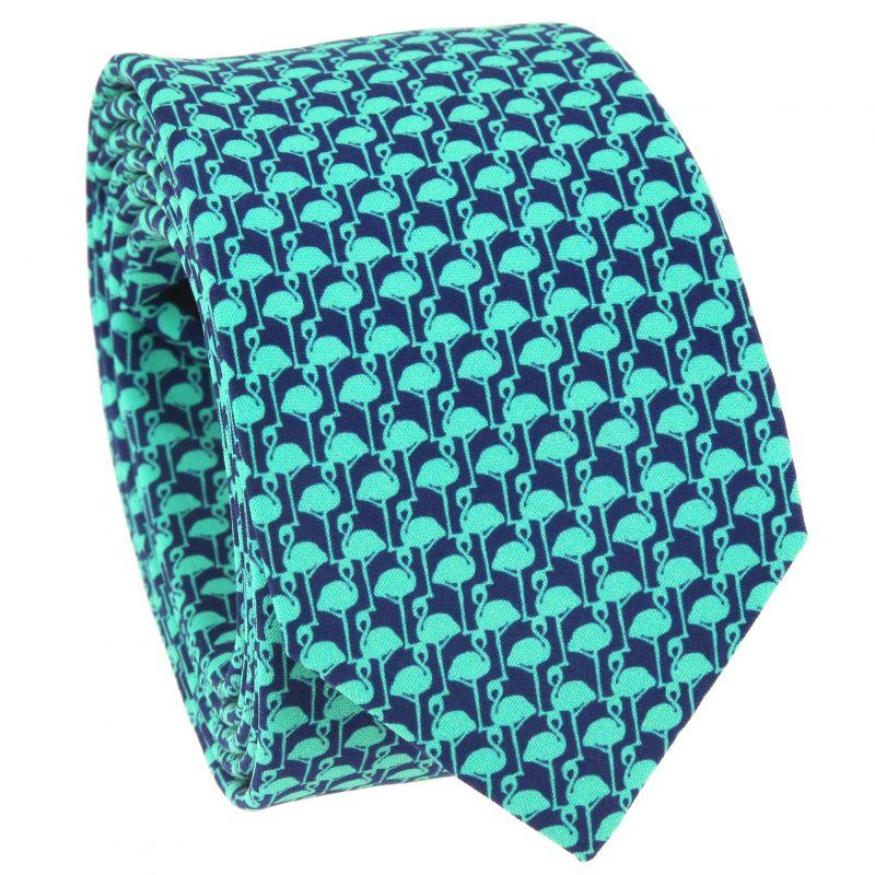 Cravate verte à motifs flamants roses en soie imprimée