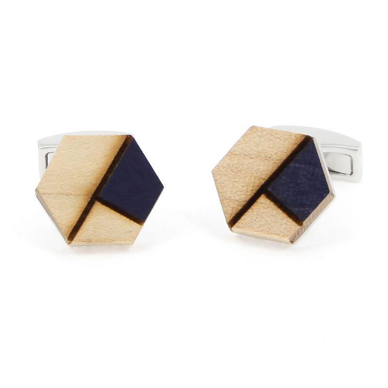 Boutons de manchette en bois d'épicéa avec insert bleu - Sitka