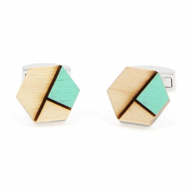 Boutons de manchette en bois d'épicéa avec insert vert - Sitka