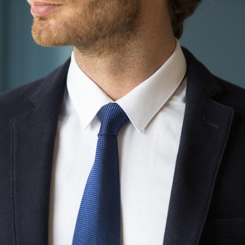 cravate grenadine de soie bleue et bleu marine grenadine vi