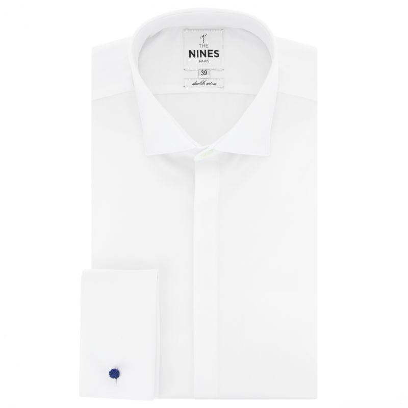 Chemise blanche à gorge cachée col italien coupe extra slim