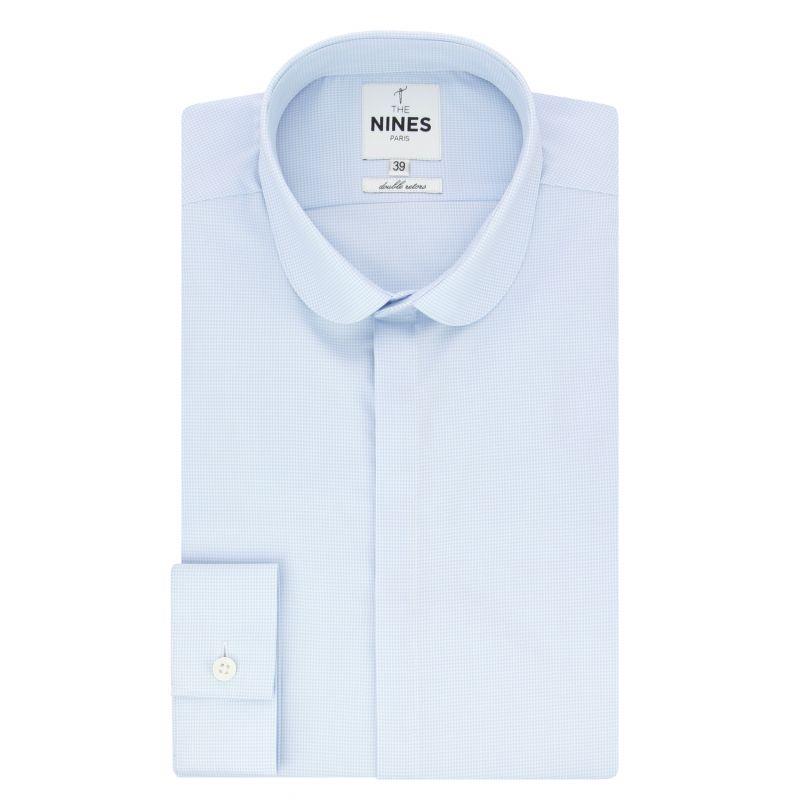Chemise bleu ciel mini pied de poule col rond tailored fit