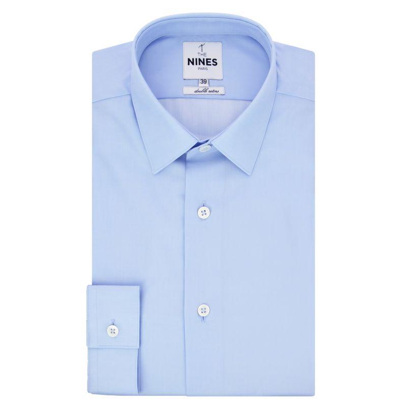 Chemise bleu ciel col japonais en popeline coupe slim