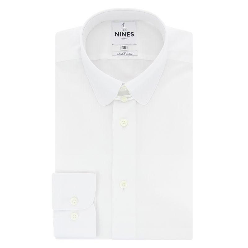 Chemise blanche col anglais arrondi coupe slim