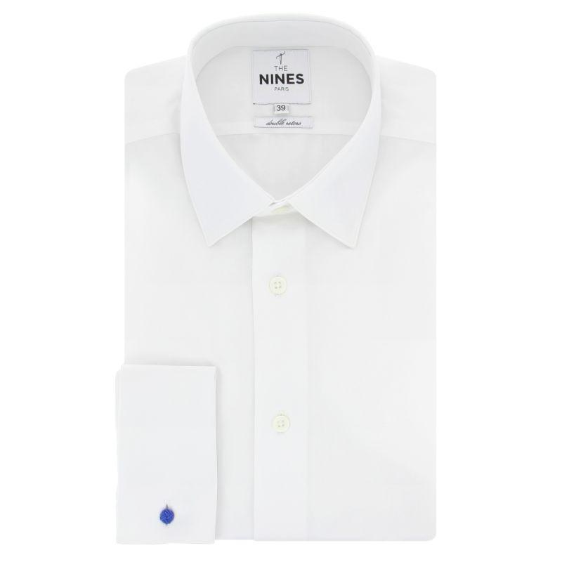 Chemise mousquetaire blanche col japonais coupe slim