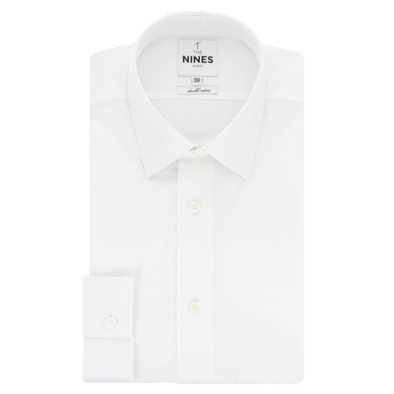 Chemise blanche col japonais coupe slim