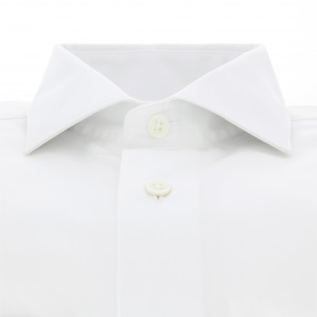 Chemise blanche col italien poignets simples