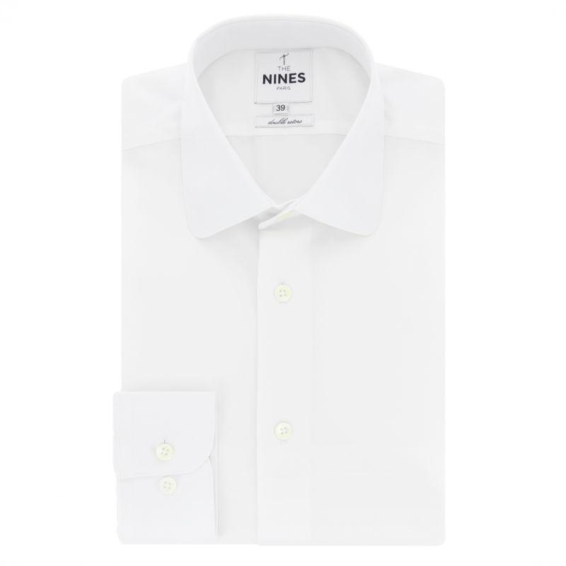 Chemise blanche col italien arrondi coupe slim