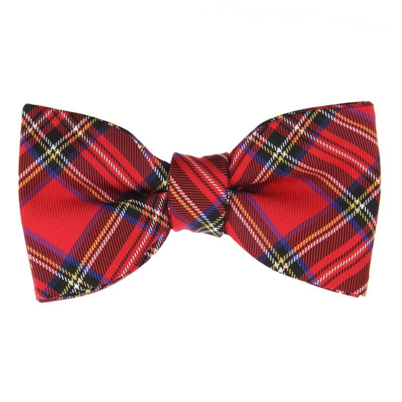Nœud Papillon à motifs écossais rouges en soie