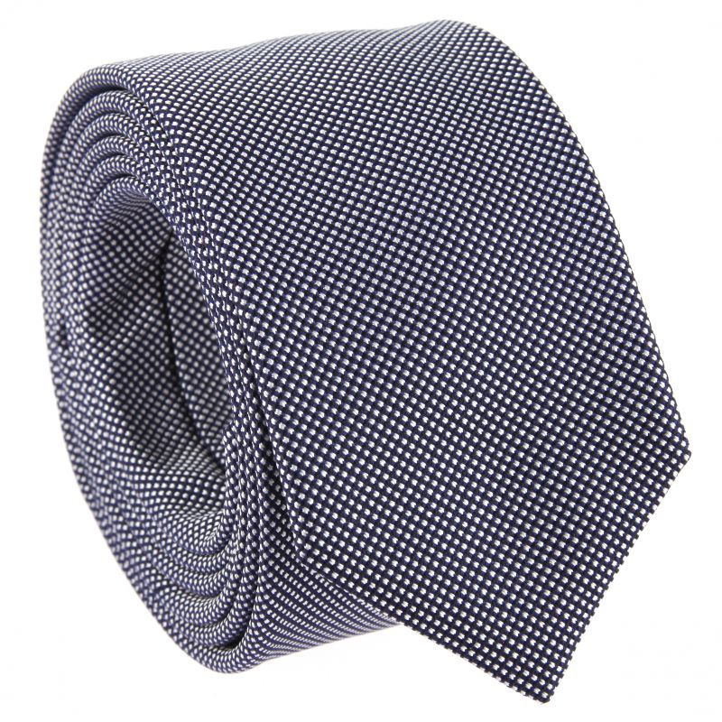 Cravate slim bleu marine et blanc en soie nattée
