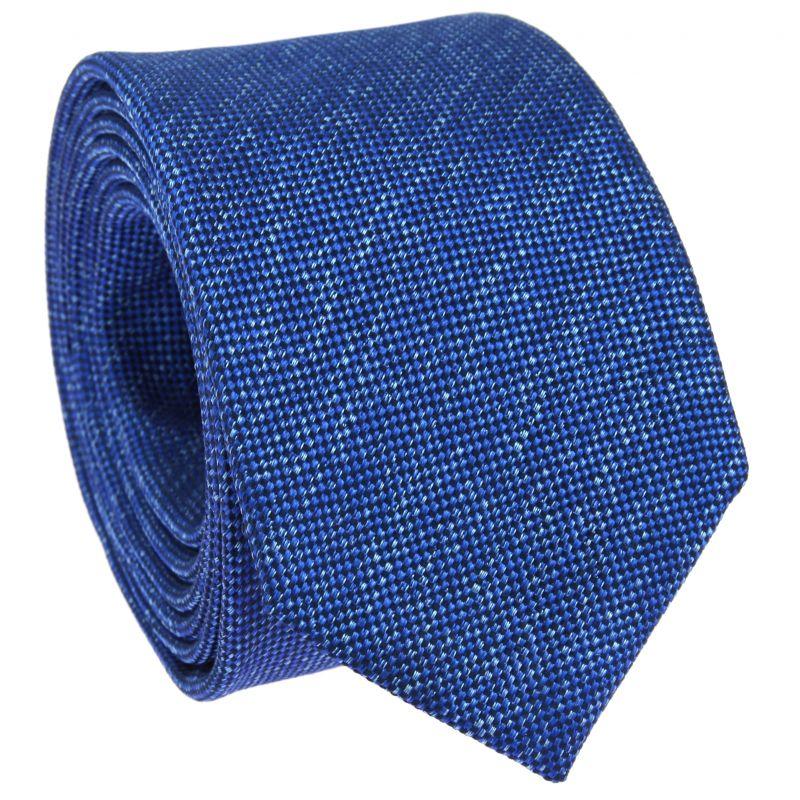 Cravate bleu chiné en soie nattée