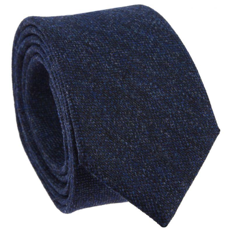 7d0dcd0561f Cravate laine et soie bleu marine chiné - Cravate chinée