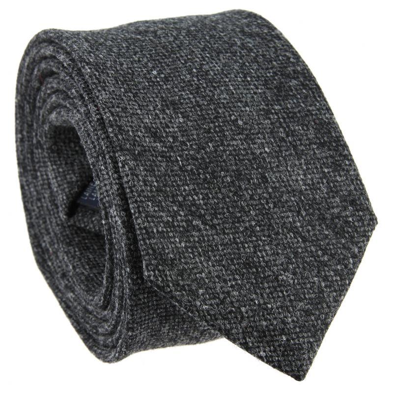 Cravate gris anthracite chiné en laine et soie
