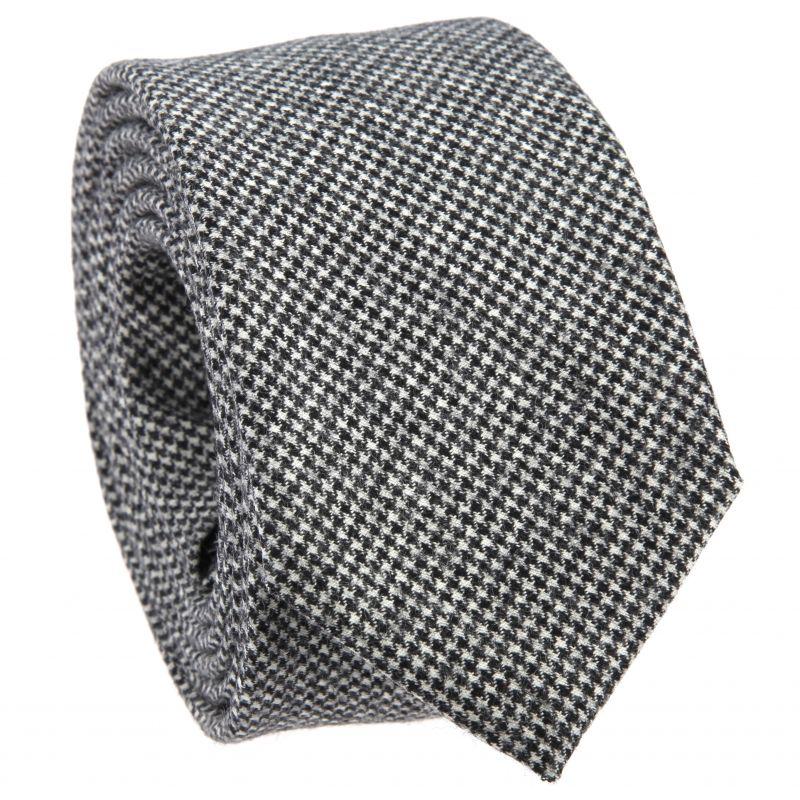 Cravate grise à motifs pied de poule en flanelle